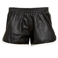 LOVE LEATHER | Crocodile Embossed Leather Gym Shorts | Browns fashion & designer clothes & clothing