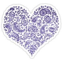 Purple Brocade Paisley Heart