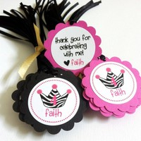Zebra Print with Tiara Favor Tags in Hot Pink and Black for Diva Party | adorebynat - Paper/Books on ArtFire