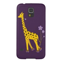 Purple Roller Skating Funny Cartoon Giraffe