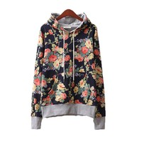 Pomelo Fashion Floral Flowers Casual Cotton Hooded Hoodie for Women (Dark Blue)