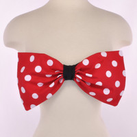 New Padded Thinner Back Red White Polka Dot Bow Bandeau Women's Fashion Top Handmade
