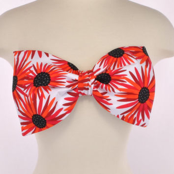 New Padded Red Black Daisy Sunflower Floral Flower Bow Bandeau Women's Fashion Top Handmade