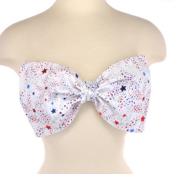 New Padded Thinner USA Flag America Stars Bow Patriotic Red White Blue Glitter Bandeau Women's Fashion Top Handmade