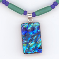 Blue and Teal Pendant Necklace Dichroic Glass by Lehane on Etsy