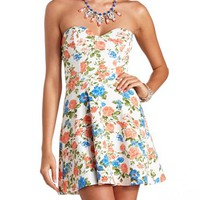 FLORAL PRINT STRAPLESS SKATER DRESS