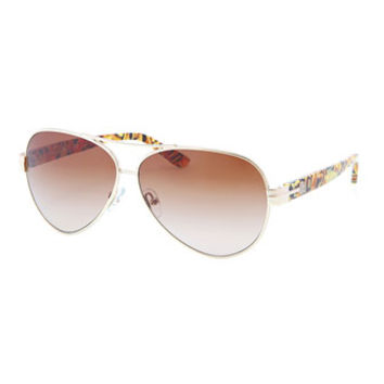 Modern Aviator Sunglasses, Gold/Tortoise