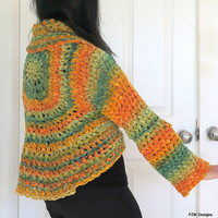 Cozy chenille shrug, crochet circle shrug with large shawl collar, orange and green outerwear