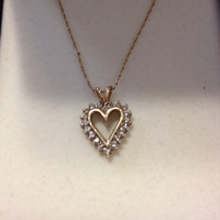 10K Diamond Heart Necklace Kay Jewelry NIB New Boxed 10KT Gold Pendant Vintage Jewelry Bridal Wedding Sparkly .5 tcw Stamped Genuine Gift