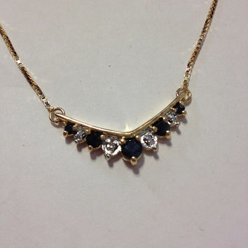 """Sapphire Diamond Necklace NIB 18K Sterling Silver 925 Blue Genuine 3 TCW Stones 16"""" Gold Sparkly Vintage New Boxed Jewelry Bridal Prom Gift"""