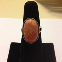 Unakite Sterling Ring Size 8 Silver Orange Green Stone 925 Handmade Vintage Southwestern Jewelry Modernist Artisan Gift Tribal Cocktail Boho