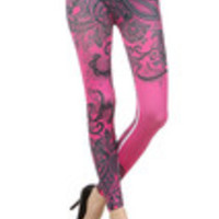 Carrie's Closet - pink paisley footless tights -- SHEER