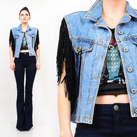 90s Denim Vest / Black Faux Leather Biker Moto Fringe Concho Western Grunge Sleeveless Jean Jacket Top S M