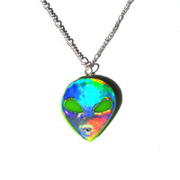 Holographic Alien Necklace Green UFO Hologram Alien Head Pendant 90s Grunge Jewelry Kawaii Jewelry Rainbow Jewelry Kawaii Accessories