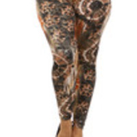 Carrie's Closet - tie dye plus size leggings in orange rust color