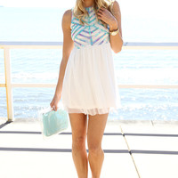 Pastel Lattice Dress - White | SABO SKIRT