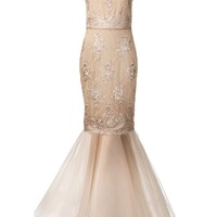 MARCHESA NOTTE illusion neck mermaid gown