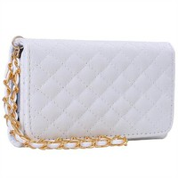 Premium Leatherette Quilted Chain Wristlet Wallet Purse Clutch Case Cover for Apple iPhone 4 4S - White