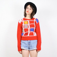Vintage DVF Sweater Red Jumper Diane Von Furstenberg Geometric Print Color Block Pullover Cosby Sweater 1980s 80s Knit Mod Jumper M Medium