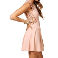 Sale-blush Crochet Side Skater Dress