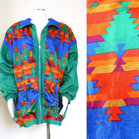 Vintage 80s Oversize Southwestern Print Windbreaker - Colorful Slouchy Women's Blue Green Orange Aztec Print Lavon Anorak Jacket- Size Large