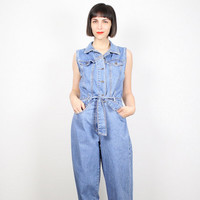 Vintage Denim Jumpsuit Blue Jean Jumper 1990s 90s Overalls Jumpsuit Belted Coveralls Romper Playsuit Pantsuit Grunge Boho M Medium L Large