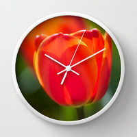 Red Tulips Wall Clock by Sean Foreman