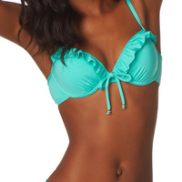 mint ruffle front swim top