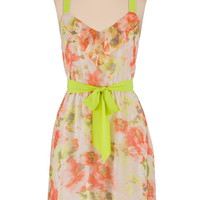 neon trim floral chiffon dress