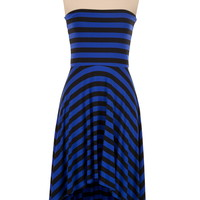 striped high-low tube dress