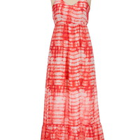 lattice back chiffon tie dye maxi dress