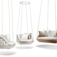 Fabric garden suspended chair SWINGME Swingrest Extension Collection by Dedon | design Stephen Burks