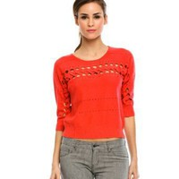 Armani Exchange Cropped Cutout Sweater