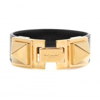 SIGNATURE CLOUS PUNK CARRÉ LEATHER BRACELET