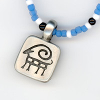 Aries Ram Pendant Etched Lead Free Pewter with Blue by Lehane