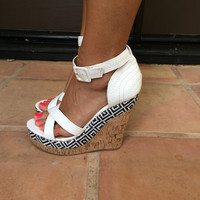White Ziggy Cork Wedges