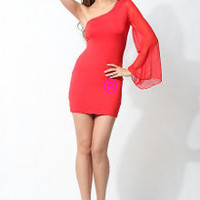 Red One Sleeve Mini Dress