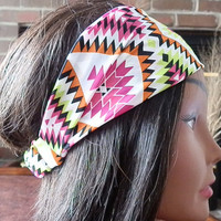 Bohemian Aztec Headband, Boho Chevron Print, Elastic turban Headband, Pink, white, Lime headband for women