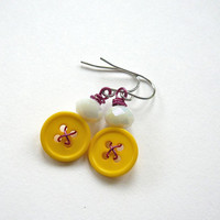 Bright Yellow Vintage Button Earrings with White and Magenta - Fun and Colorful