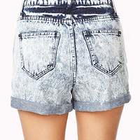 High-Waisted Acid Wash Shorts