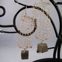 Hand Knitted Gold Filled Pyrite Earrings