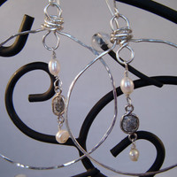 Raw Diamond and Pearl Sterling Silver Hoop Earrings