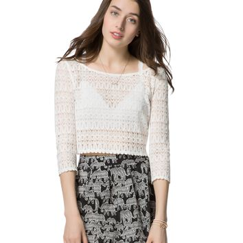 3/4 SLEEVE SHEER LACE CROP TOP