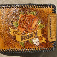 Roxy Rockabilly Sailor Jerry style leather wallet | Lovejoycreations - Accessories on ArtFire