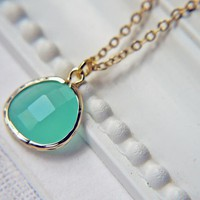 Mint Opal Glass Pendant Necklace In Matte Gold. Modern Simplicity. Stylish And Chic | Luulla