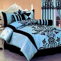 7 PC MODERN Black Blue Flock Satin COMFORTER SET / BED IN A BAG - CALIFORNIA CAL KING SIZE BEDDING
