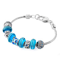 Mom Blue Elements Crystal Petal Flower Lamwork Heart Love Beaded Bracelet Fit All Brands, Bracelets, Mom Jewelry | Pugster.com