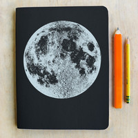Large Silver Moon Sketch Book, Blank Paper, metallic book cover, offset printed in Portland Oregon, space holiday art journal luna