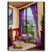 Room with a View Watercolor Painting