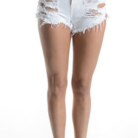 White Hot High Waisted Shredded Cutoffs | Bloody-Fabulous